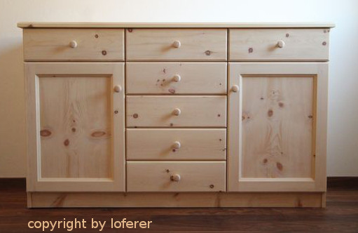 Kommode schlafzimmer holz shabby nachtkonsole mit for Kommode zirbenholz