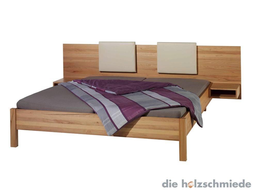 Bett Volante mit Rückenteile aus Leder