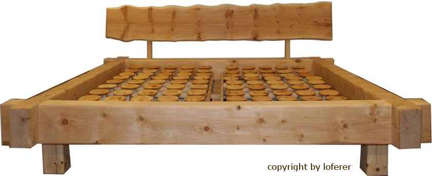 Balkenbett zirbe  Balkenbett Zirbe gefertigt von der Schreinerei Loferer