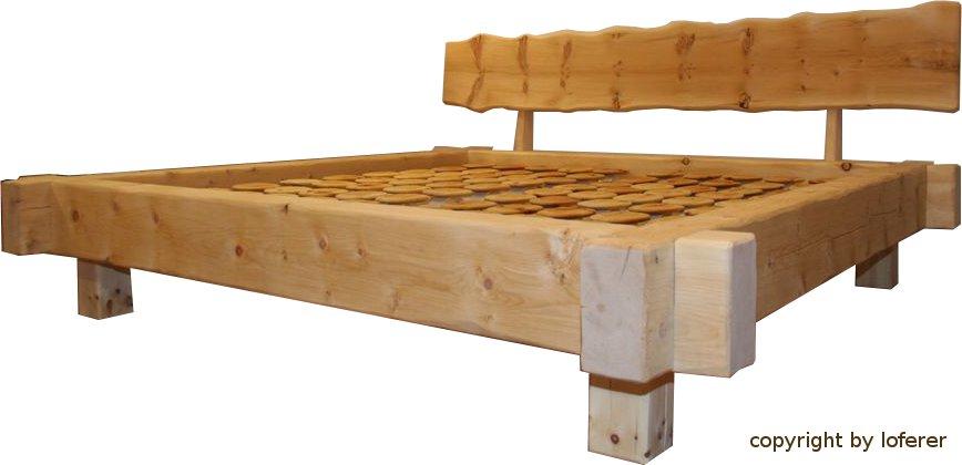Zirbenholzbalkenbett