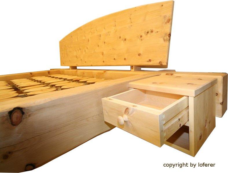 Zirben Balkenbett Schublade